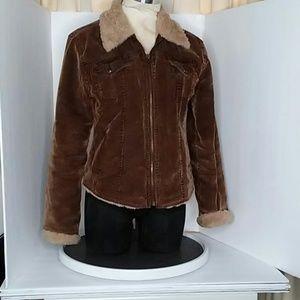 Arizona Sherpa lined brown corduroy jean jacket sm